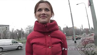 Czech amateur babe banged in public in the car