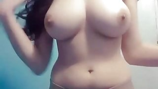 Arab girl playing With here boobs