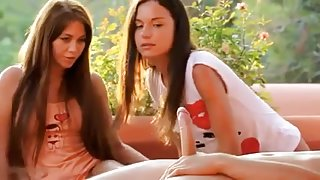 Slender Beauties in a outdoor 3some ctoan