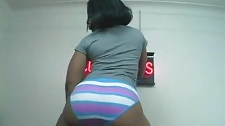 Big Booty Model  Striped Panties Booty Shake