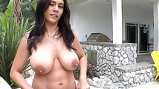 This extremely hot latin beauty is an eye candy! Raylene denudes her voluptuous curves and goes down on our man sucking and licking his throbbing shaft.
