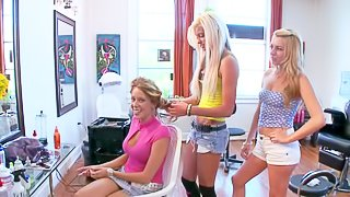 Two golden haired girls Lexi Belle and Nikki Brooks have really great time in the hair salon, doing each others hair and giving each other a foot massage in there