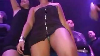 Slutty up skirt club girls dancing and showing their ass