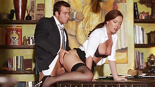 A chance to bed his horny secretary. Clothed sex