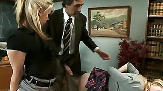 Emma Haize was so disrespectful to her professor Sarah Vandella she has to call the dean Steve Holmes for help, and theyre gonna punish the girl the old fashioned way...