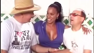 Stunning ebony is serving two white men at a time