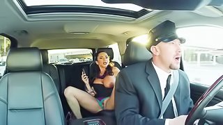 Dark haired MILF whore fucks her driver