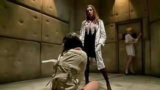 Mental hospital patient Bobbi Star and blond nurse Lorelei Lee team up to make the escape possible. Doctor Francesca Le is they enemy and they turn her into their slave and double fuck her with no mercy in straitjacket