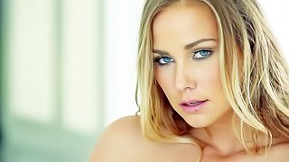 Courtney Dillon is one beautiful adult model with amazing blue eyes. Naked lady with natural titties opens her legs and spreads her pussy lips. She shows her pink love box as she masturbates