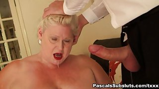 BBW blond British cougar anal