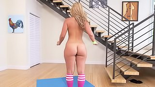 Sexy gymnast Kelsi Monroe with nice bubble butt wears nothing but pink socks. She gets her pink pussy fingered and her mouth fucked as she does exercises. This big ass chick is so flexible!