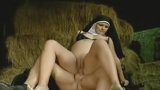 Slutty nun gets fucked hard on a priest on a hay