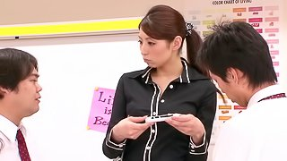 Japanese teacher Hina sucks a few dicks in reality clip