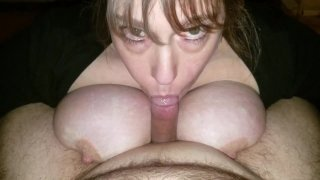 POV BBW AMATEUR WIFE WITH HUGE NATURAL TITS HAS INCREDIBLE BLOWJOB SKILLS