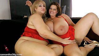 Busty BBW's In Red