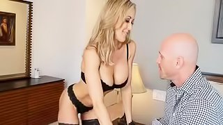 Bald man is fucking blonde in stockings