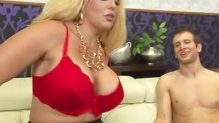Good looking busty blonde Allura Jenson in black stockings and red bra shows her assets to a skinny guy and then plays with his meat pole. Allura Jenson gets it started with a handjob