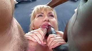 Attractive european blonde Sasha Rose goes crazy about sucking big dicks. She gives head to Rocco Siffredi and his black buddy. She eats their big meat poles hungrily. Watch brave euro girls give double blowjob!