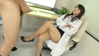 Femdom fetish Japanese nurse getting her pussy licked at work