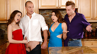 Melissa Moore & Riley Reid & Bill Bailey & Sean Lawless in Dinner For Sluts - Brazzers