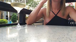 ACCIDENTAL NIPPLE SLIP IN RESTAURANT