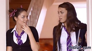 Two kinky schoolgirls fuck each other