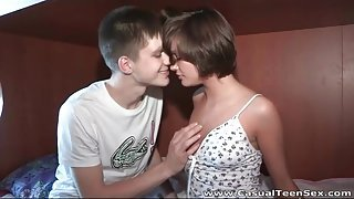Short hair teen brunette gives a sexy blowjob