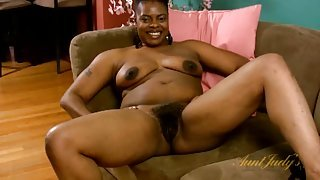 Big black ass and a bush on the solo milf