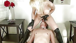 Blonde Missy Woods has her own slave, she sits on his face making him lick and taste her pussy and her asshole. The man works with his mouth professionally and she cums spectacularly!