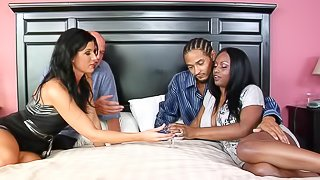 Hardcore interracial foursome clip with Jada Fire and India Summer