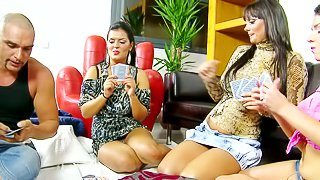 Jasmine Black, Sheila Grant and Rye are three big breasted brunettes that play strip poker with lucky dude. They bare it all and show their delicious big titties