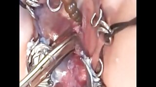 My Sexy Piercings Slave with pierced pussy fucking machine