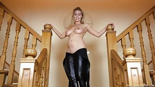 Tight and shiny catsuit on a big breasted British girl