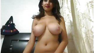 A huge booby babe on webcam.