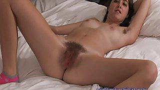 Marie - full bush hairy hippy girl first porn