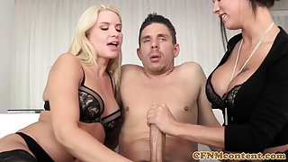 Femdom milfs cumswapping after fucking